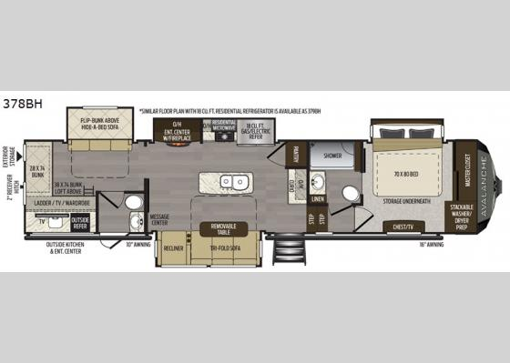 Floorplan - 2021 Avalanche 378BH Fifth Wheel