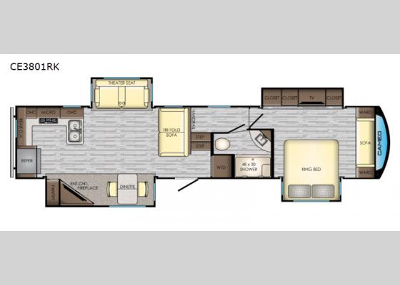 Floorplan - 2020 Cameo CE3801RK Fifth Wheel