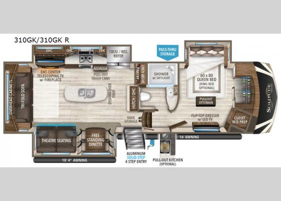 Floorplan - 2020 Solitude 310GK Fifth Wheel