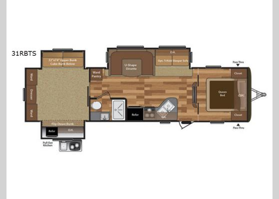 Floorplan - 2018 Hideout 31RBTS Travel Trailer