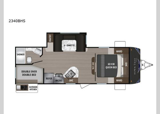 Floorplan - 2020 Aspen Trail 2340BHS Travel Trailer