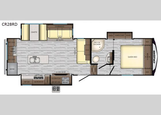 Floorplan - 2020 Cruiser Aire CR28RD Fifth Wheel