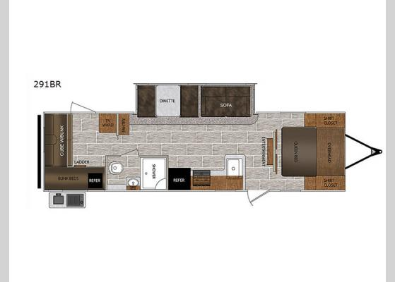 Floorplan - 2019 Tracer 291BR Travel Trailer