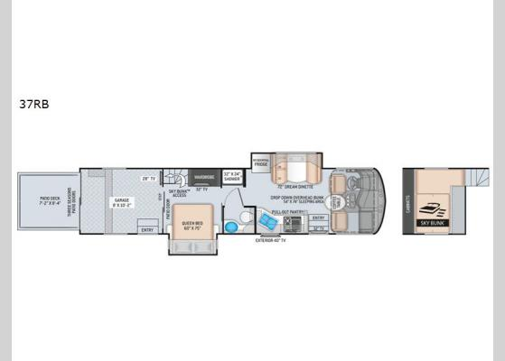 Floorplan - 2020 Outlaw 37RB Motor Home Class A - Toy Hauler