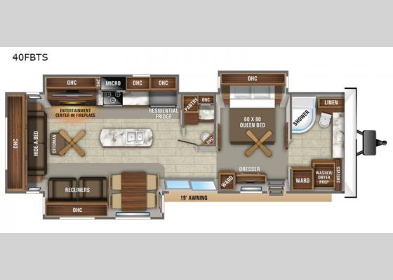 Floorplan - 2020 Jay Flight Bungalow 40FBTS Park Trailer