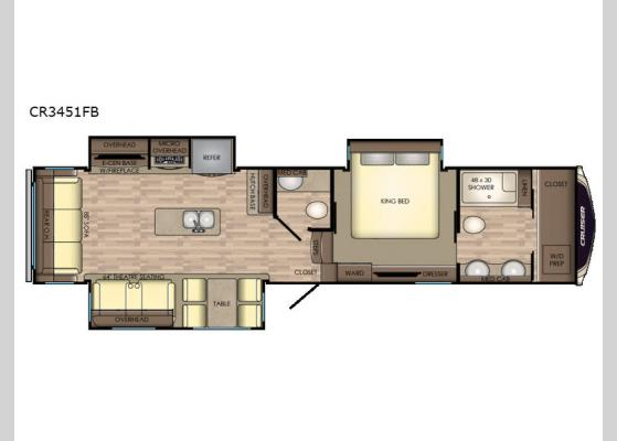 Floorplan - 2019 Cruiser CR3451FB Fifth Wheel