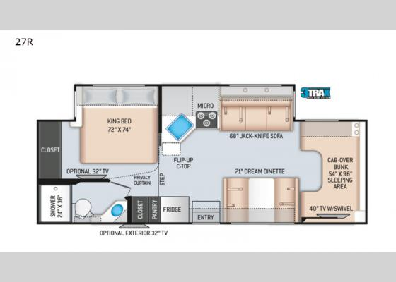 Floorplan - 2020 Four Winds 27R Motor Home Class C