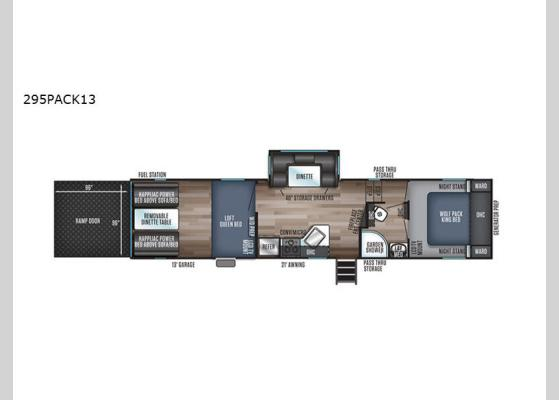 Floorplan - 2020 Cherokee Wolf Pack 295PACK13 Toy Hauler Fifth Wheel