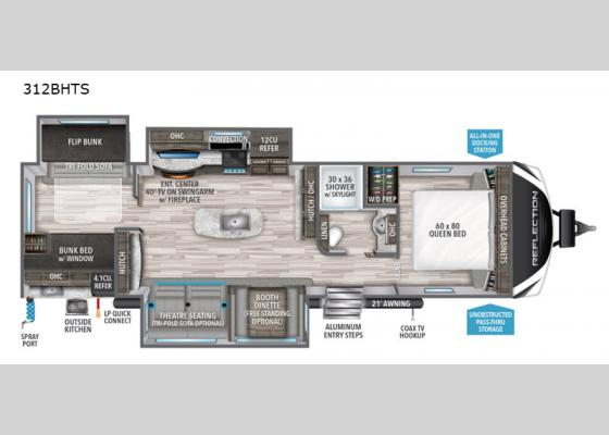 Floorplan - 2020 Reflection 312BHTS Travel Trailer