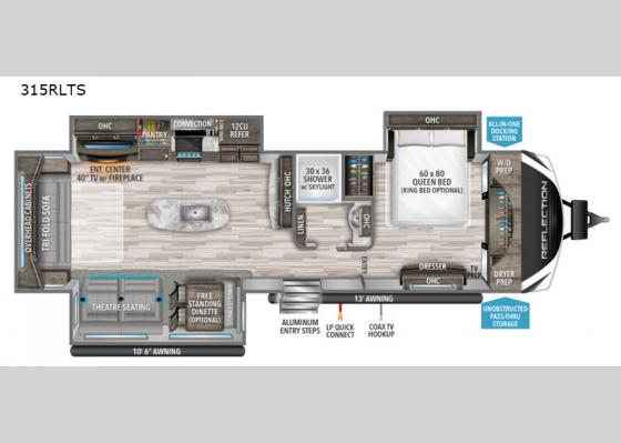 Floorplan - 2020 Reflection 315RLTS Travel Trailer