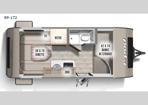 Floorplan - 2021 R Pod RP-172 Travel Trailer