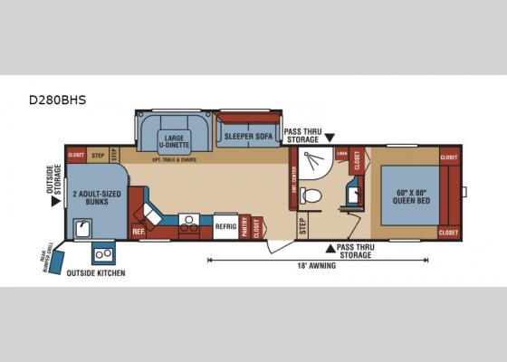 Floorplan - 2019 Durango 1500 D280BHS Fifth Wheel