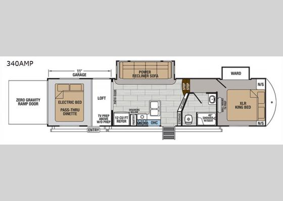 Floorplan - 2019 XLR Thunderbolt 340AMP Toy Hauler Fifth Wheel
