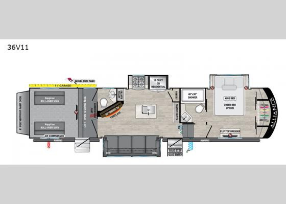 Floorplan - 2021 Valor 36V11 Toy Hauler Fifth Wheel