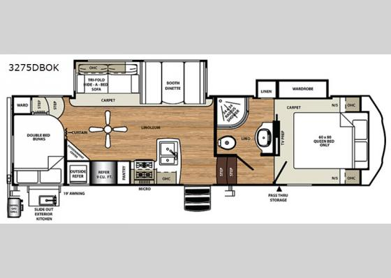 Floorplan - 2020 Sandpiper HT 3275DBOK Fifth Wheel