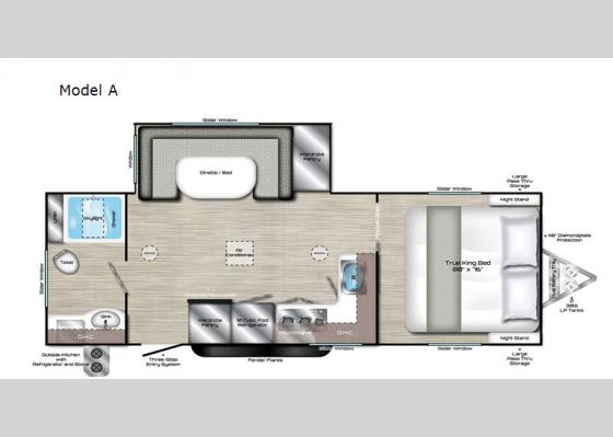 Floorplan - 2020 Evoke Model A Travel Trailer