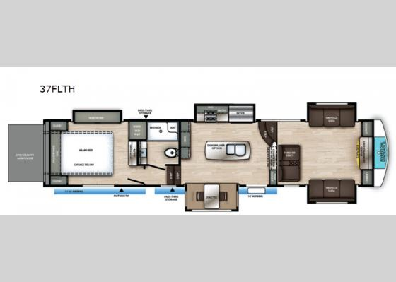 Floorplan - 2021 RiverStone 37FLTH Toy Hauler Fifth Wheel