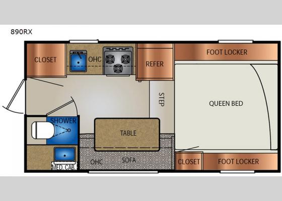 Floorplan - 2020 Extended Stay 890RX Truck Camper