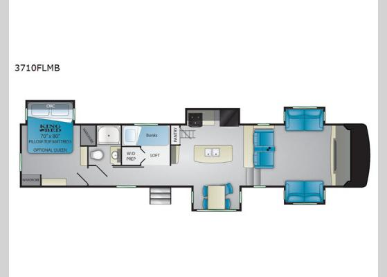 Floorplan - 2020 South Fork 3710FLMB Fifth Wheel