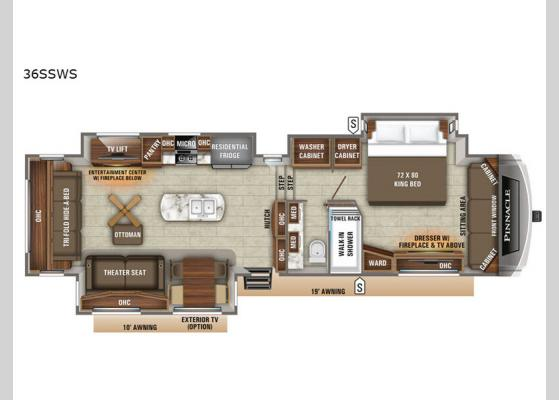 Floorplan - 2020 Pinnacle 36SSWS Fifth Wheel