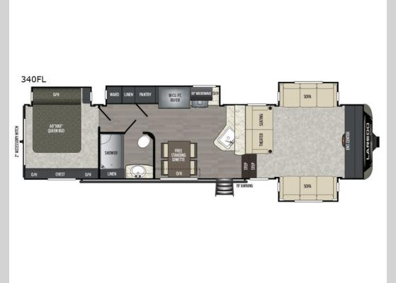 Floorplan - 2019 Laredo 340FL Fifth Wheel