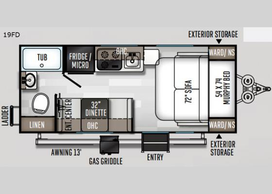 Floorplan - 2020 Rockwood Geo Pro 19FD Travel Trailer