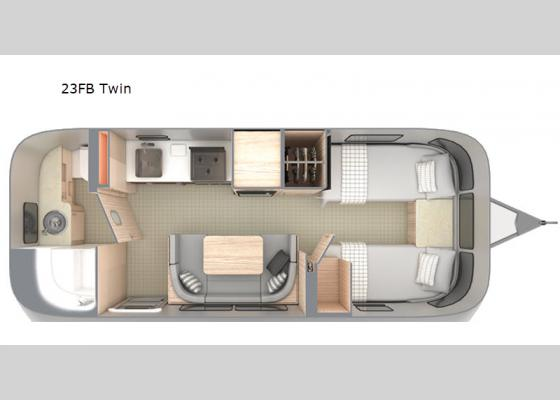 Floorplan - 2021 Globetrotter 23FB Twin Travel Trailer