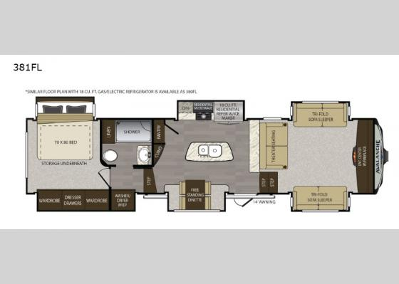 Floorplan - 2019 Avalanche 381FL Fifth Wheel