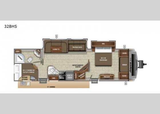 Floorplan - 2020 White Hawk 32BHS Travel Trailer