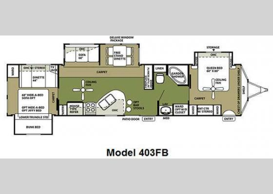Floorplan - 2012 Wildwood Lodge 403FB Destination Trailer