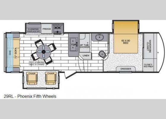 Floorplan - 2014 Phoenix 29RL Fifth Wheel