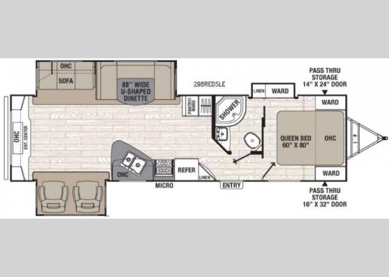 Floorplan - 2017 Freedom Express Liberty Edition 298REDS Travel Trailer