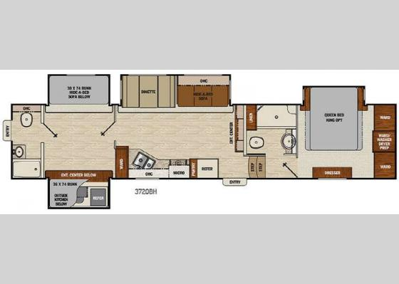 Floorplan - 2017 Chaparral 372QBH Fifth Wheel