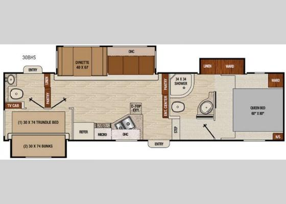 Floorplan - 2017 Chaparral Lite 30BHS Fifth Wheel