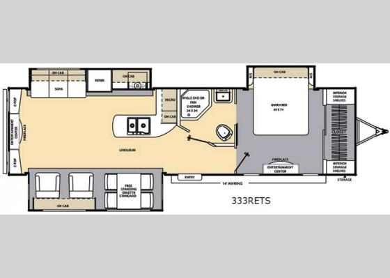 Floorplan - 2017 Catalina 333RETS Travel Trailer