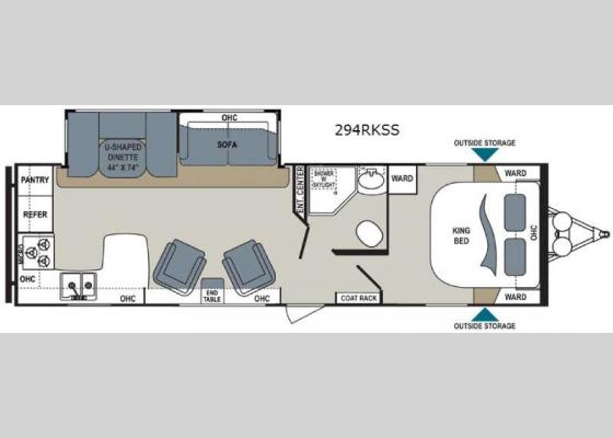Floorplan - 2017 Aerolite 294RKSS Travel Trailer