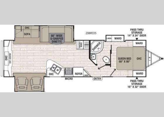Floorplan - 2017 Patriot Edition 298REDS Travel Trailer
