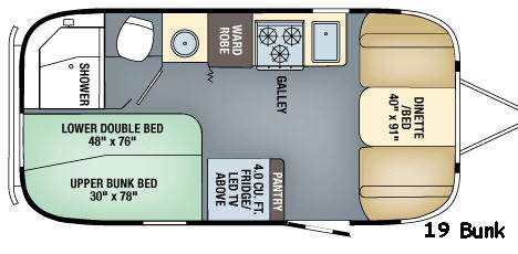 Floorplan - 2017 Flying Cloud 19 Bunk Travel Trailer