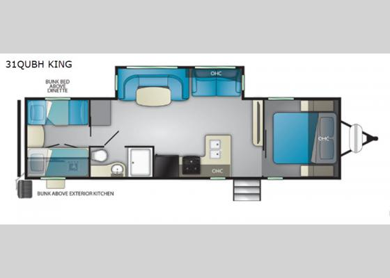 Floorplan - 2019 North Trail 31QUBH King Travel Trailer