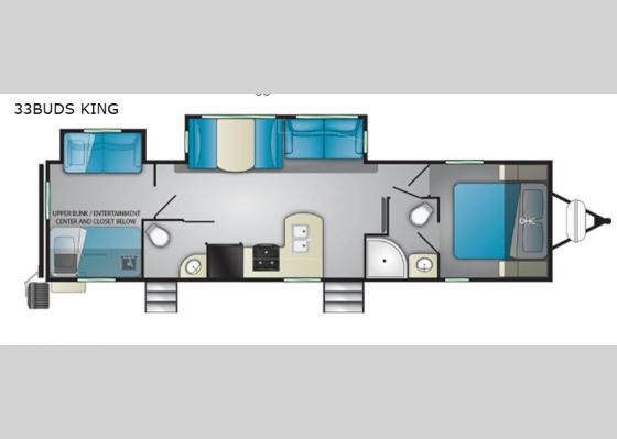 Floorplan - 2019 North Trail 33BUDS King Travel Trailer