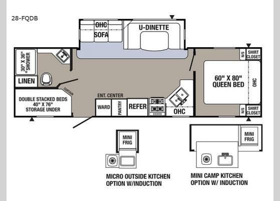 Floorplan - 2018 Puma 28-FQDB Travel Trailer