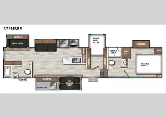 Floorplan - 2020 Chaparral 373MBRB Fifth Wheel