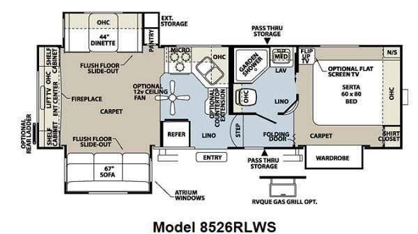 Floorplan - 2013 Forest River RV Flagstaff Classic Super Lite 8526RLWS