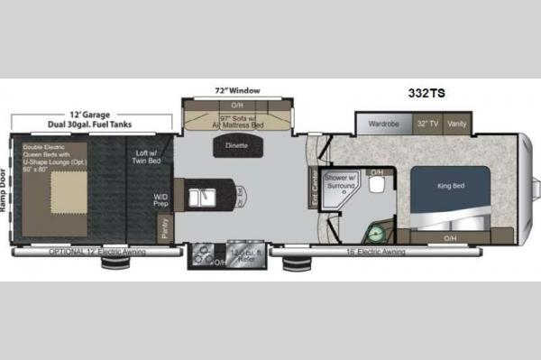 Floorplan - 2013 Keystone RV Raptor 332TS