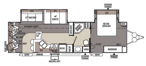 Floorplan - 2015 Forest River RV Rockwood Signature Ultra Lite 8314BSS
