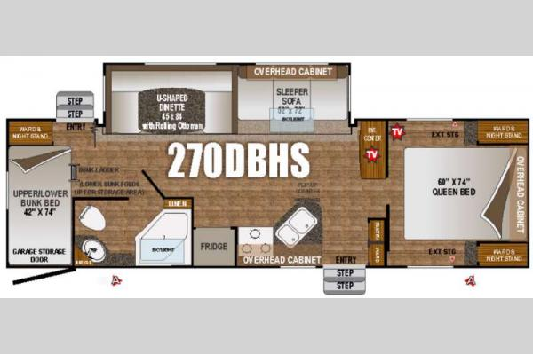 Floorplan - 2016 Outdoors RV Timber Ridge 270DBHS
