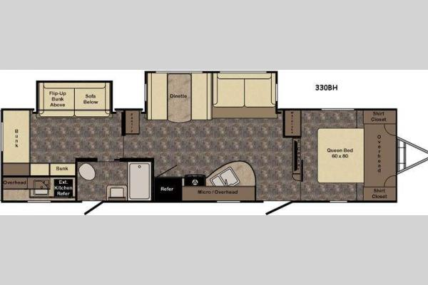 Floorplan - 2016 CrossRoads RV Sunset Trail Super Lite ST330BH