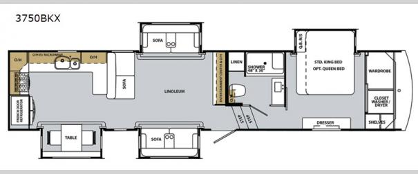 Cardinal Luxury 3750BKX Floorplan