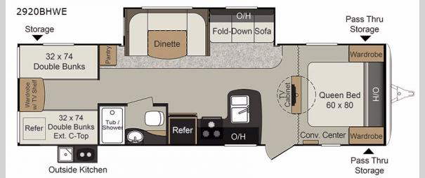 Passport 2920BHWE Grand Touring Floorplan