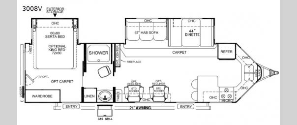 Rockwood Wind Jammer 3008V Floorplan